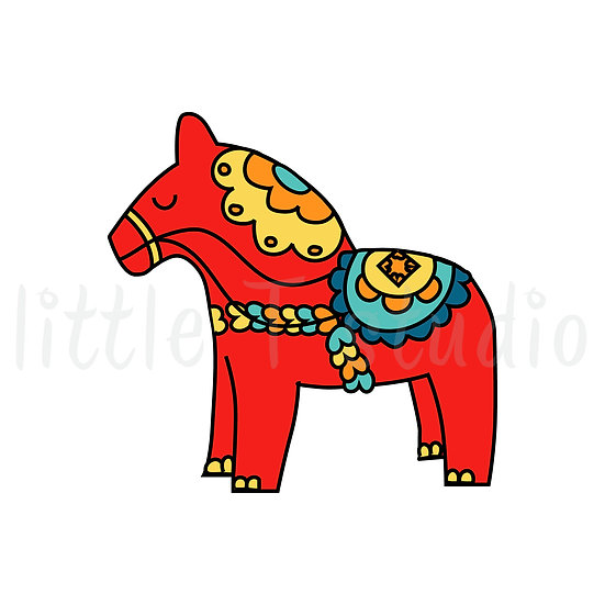 Scandinavian Dala Horse Stickers - Style 186 or 148M