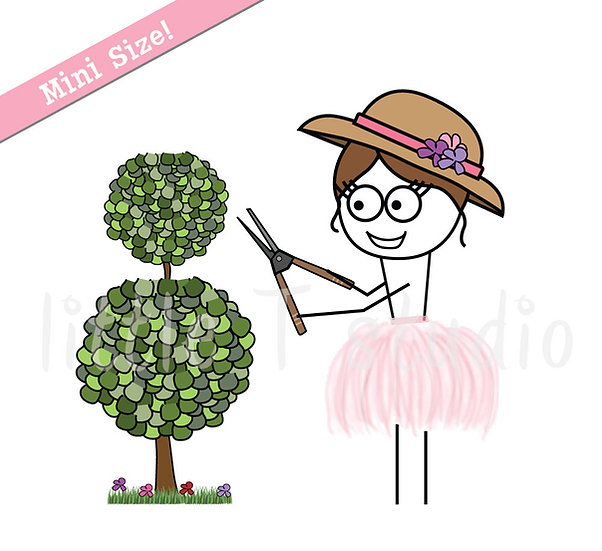 Busy Ballerina Mini Size - Landscaping Yard Work Reminder Stickers - Style 235M