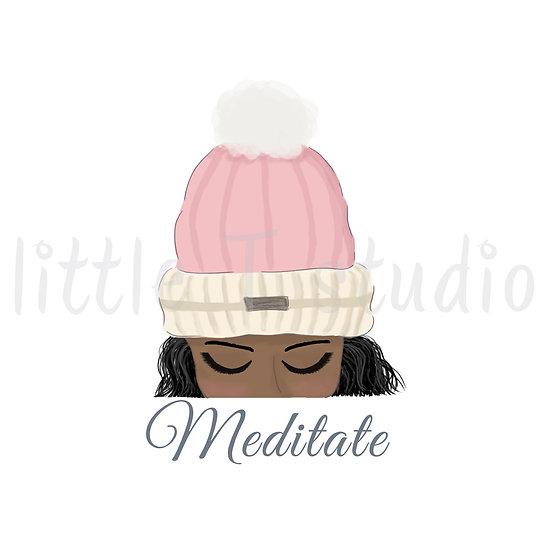 Meditate Stickers - Dark Skin, Black Hair - Winter Themed - Style 1124 or 316M