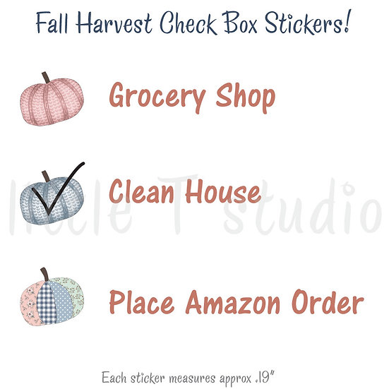 Fall Pumpkin Harvest Bullet/Check Box Stickers - Style 450M