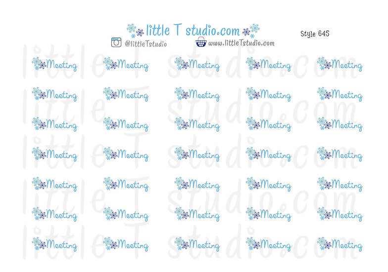 Winter Snowflake Meeting Reminder Stickers - Style 645