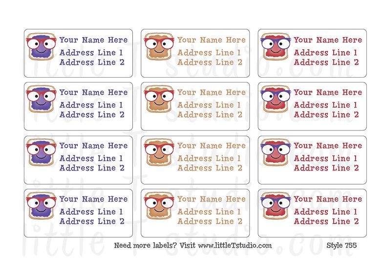 Return Address Labels - Peanut Butter & Jelly - Style 755