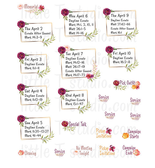 2020 Memorial Mini Size Floral Frame Stickers - Style 159M