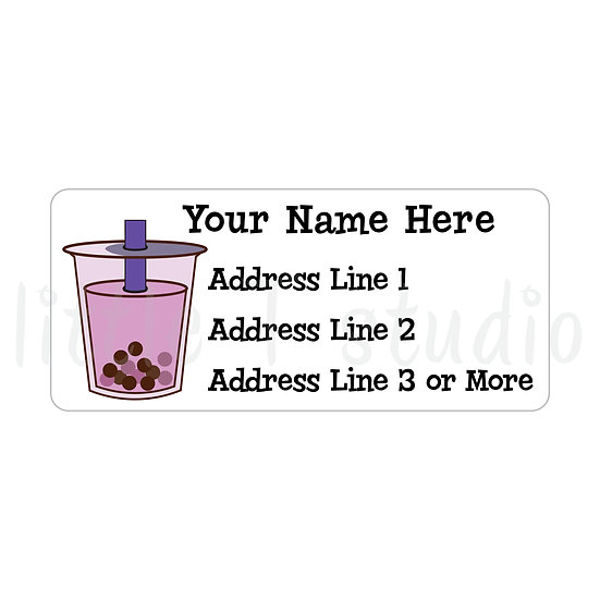 Return Address Labels - Boba Drinks - Style 764