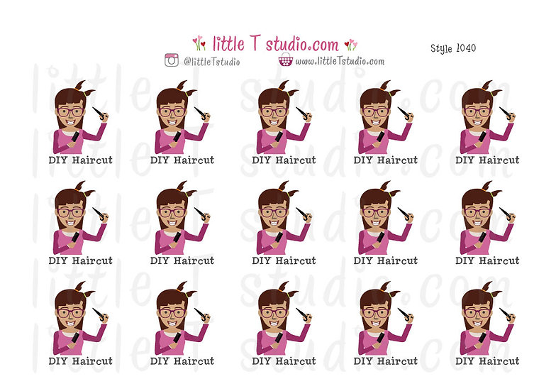 DIY Haircut Stickers - Girl - Style 1040