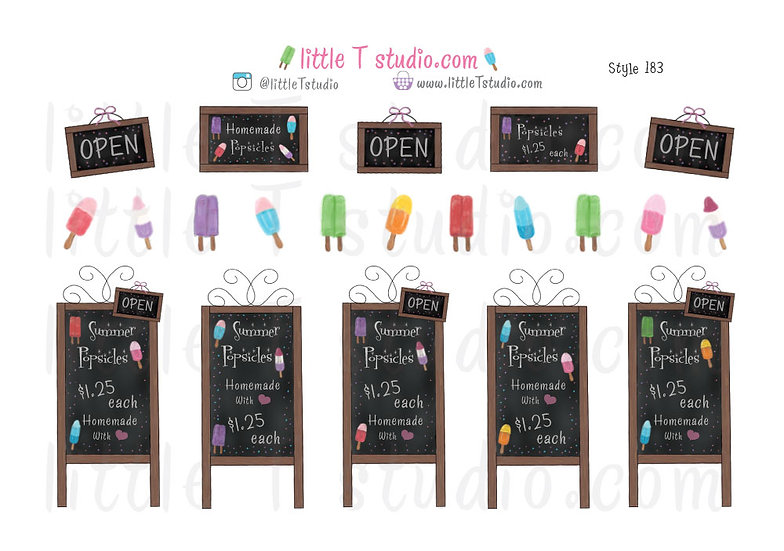 Chalkboard Sign Popsicle Stickers - Style 183