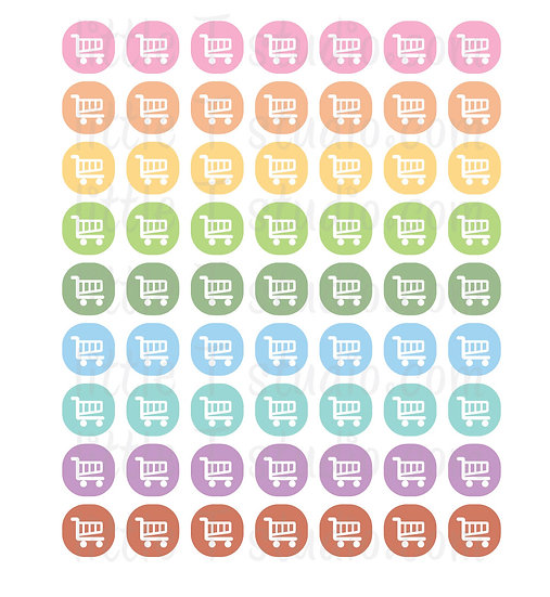 Grocery Shop Icon Micro Mini Stickers - Style 079M