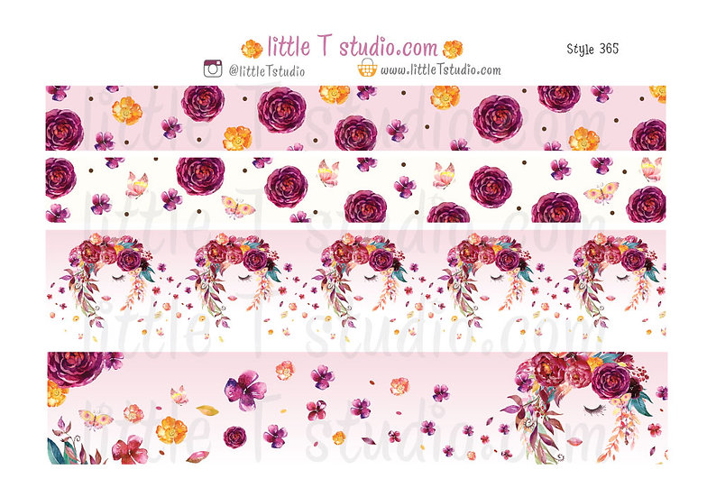 Floral Serenity - 15mm & 30mm Washi Tape Set - Style 365