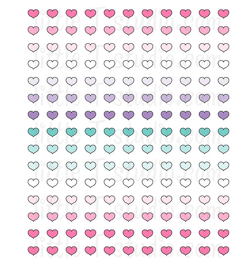 Spring Themed Heart Colors Mini Size Stickers - Style 182M