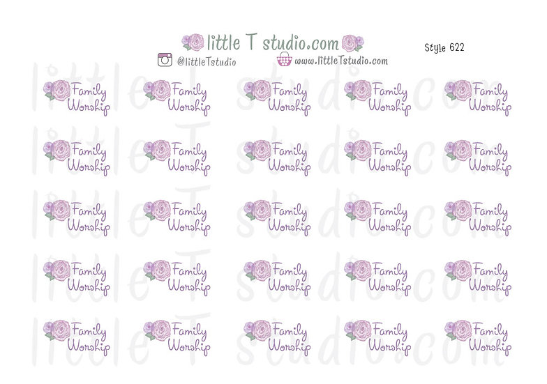 Family Worship Purple Rose Floral Script Stickers - Style 622
