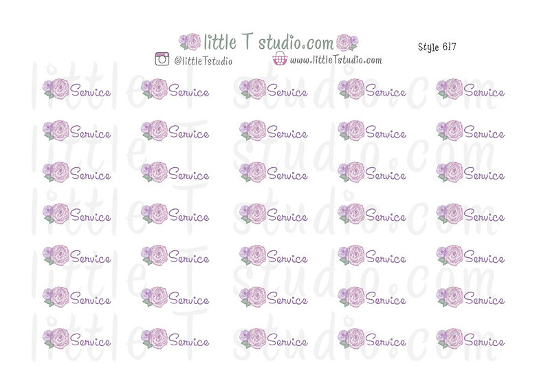 Field Service Purple Rose Floral Script Reminder Stickers - Style 617
