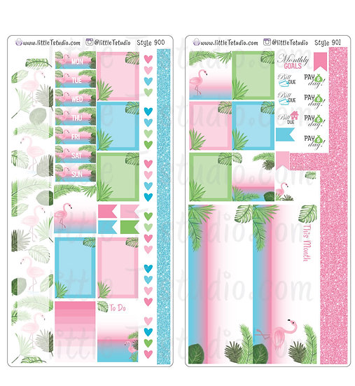Hobonichi Weeks - Monthly Sticker Kit - Pink Flamingo -Styles 900, 901