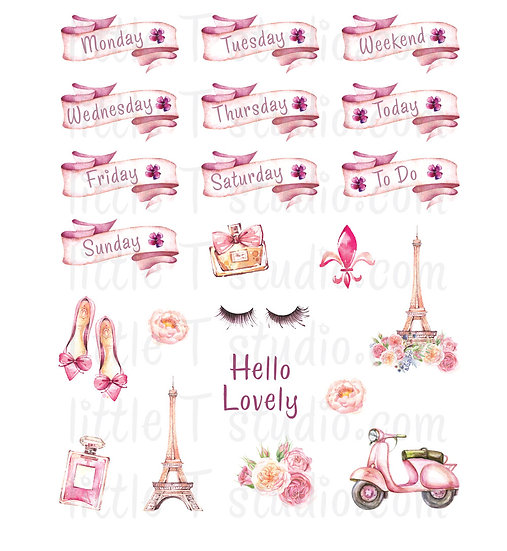Lovely Paris - Mini Size Weekday, Decorative Stickers - Style 303M