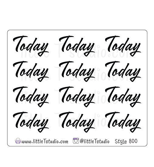 Today Script Stickers - Style 800
