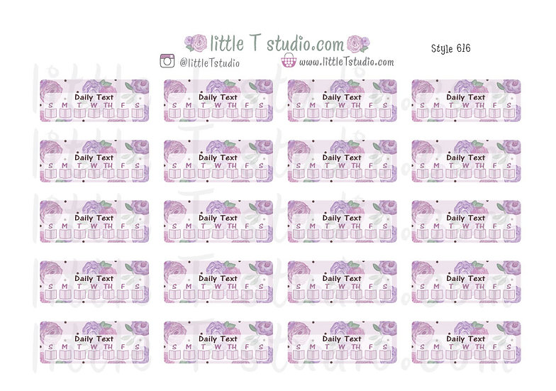 Read Daily Text Checklist Purple Rose Pattern Reminder Stickers - Style 616