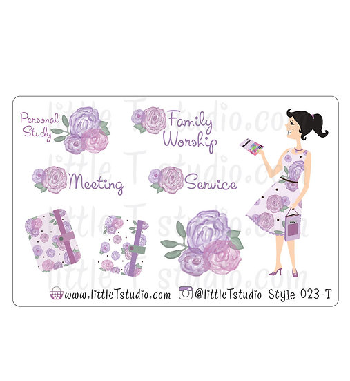 Field Service Girl Stickers - Purple Rose Floral - Style 023-T