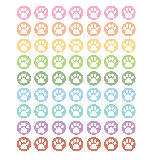 Pet Appt Paw Print Icon Micro Mini Stickers - Style 065M