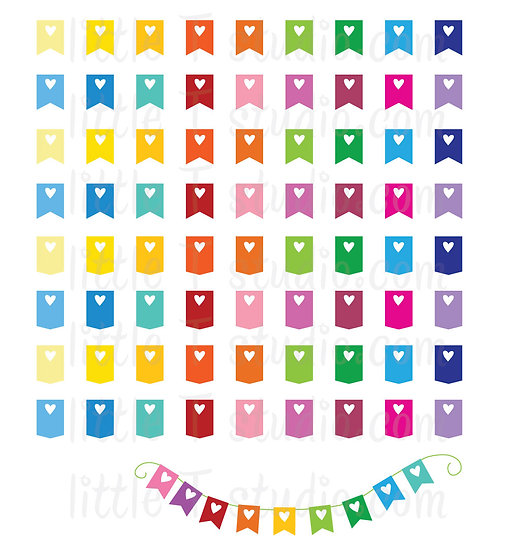 Reminder Heart Flag Mini Stickers - Style 003M