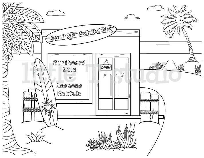 Surf Shack Coloring Page