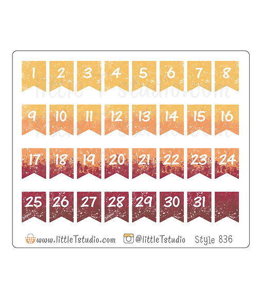 Watercolor Small Date Flag Stickers - Fall Colors - Style 836