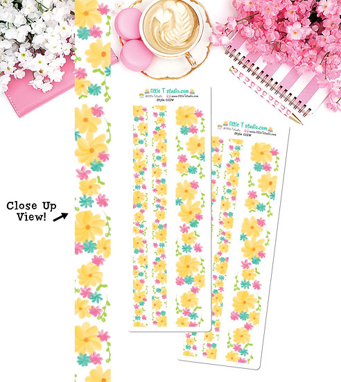 Spring Floral 15mm & 30mm Washi Tape Set - Style 012W