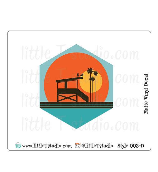 Lifeguard Tower - Vinyl Decal Matte Finish - Style 003-D