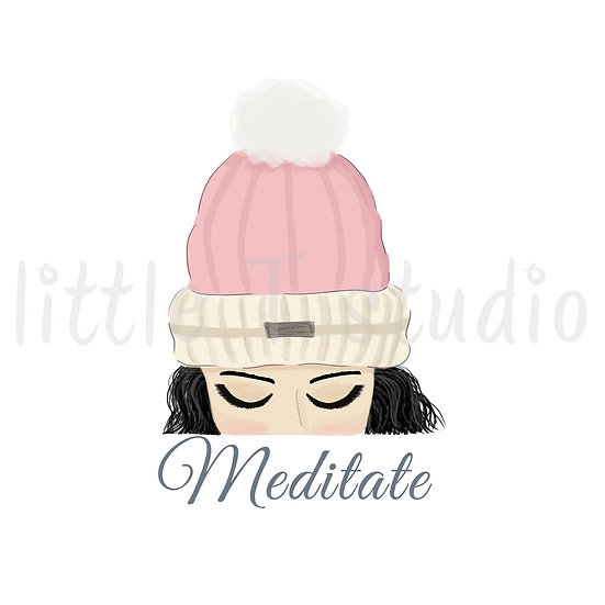 Meditate Stickers - Black Hair - Snow Day - Style 1130 or 322M