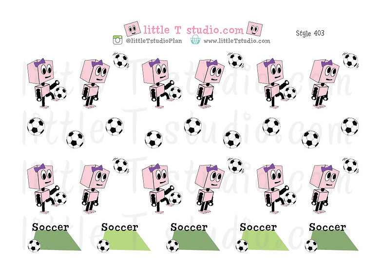 Busy Bots Girl - Soccer Sticker Set - Style 403