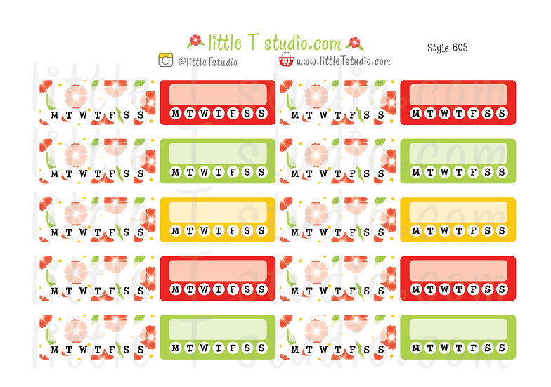 The Anything Daily Habit Checklist - Ruby Red Floral Stickers - Style 605