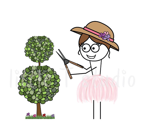 Busy Ballerina - Landscaping Yard Work Reminder Stickers - Style 235