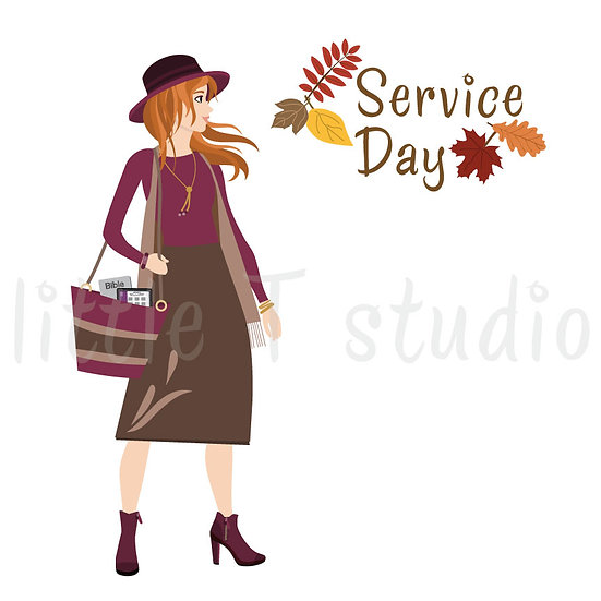 Happy in the Ministry Fall Themed Service Day Stickers - Red Hair - Style 683