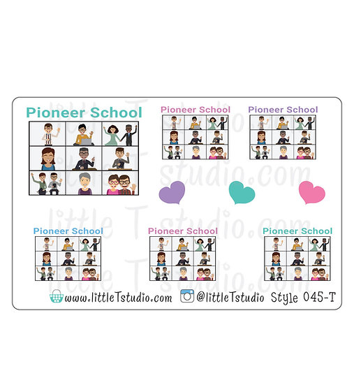 Pioneer School Stickers - Gift Giving Size - Style 045-T