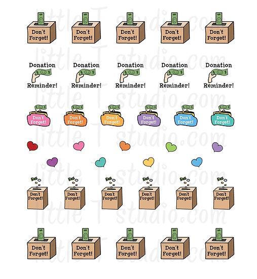 Contribution Donation Reminder Mini Stickers - Style 037M