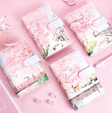 Cherry Blossom Dreamy Cats Personal Planner + Matching Full Color Refill Sheets