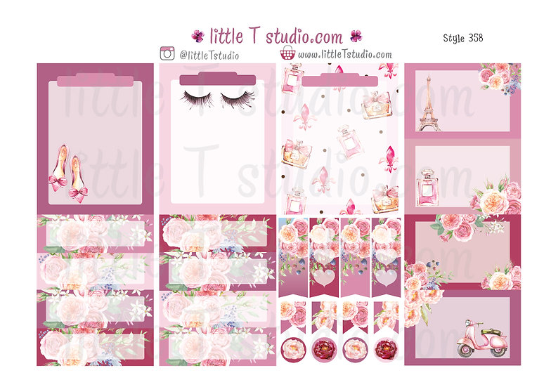 Lovely Paris - Vertical Boxes Sticker Sheet - Style 358