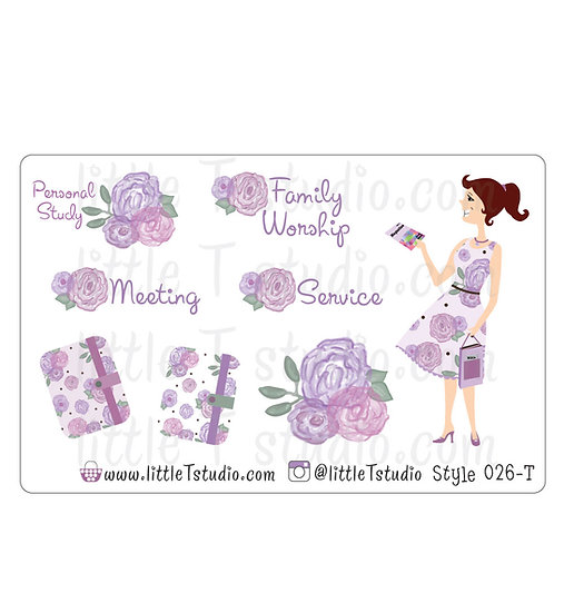 Field Service Girl Stickers - Purple Rose Floral - Style 026-T