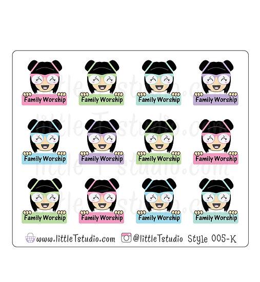 Kawaii Stickers - Family Worship - Style 005-K
