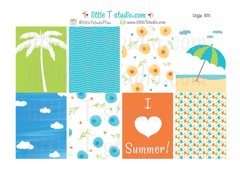 Erin Condren Vertical Box Stickers - Summer Fun! - Style 300