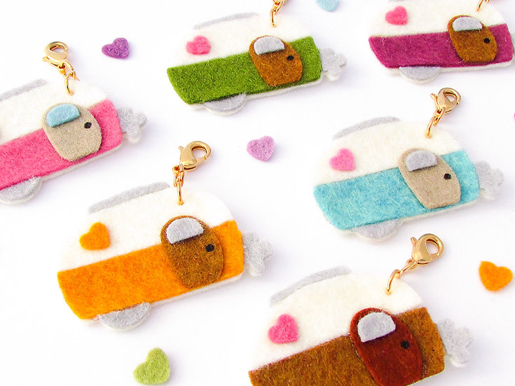 Retro Travel Trailers Dangle Clip - 6 Colors to Choose From!