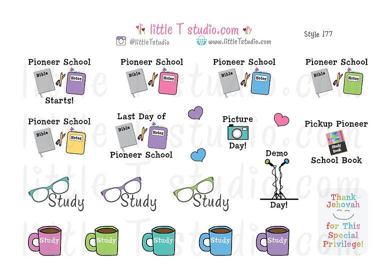 Pioneer School Reminder Sticker Set - Style 177
