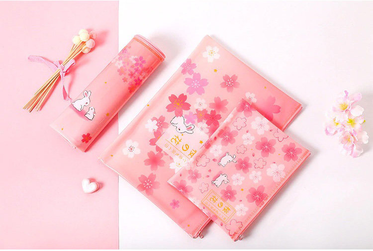 Cherry Blossoms and Bunnies Pencil Cases and Pouches - 3 Sizes