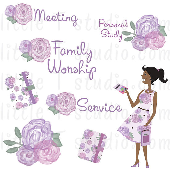 Sisters in the Ministry Floral Springtime Clipart- 8 Different Skin/Hair Colors