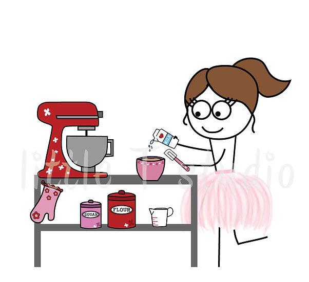 Busy Ballerina - Baking / Kitchen Stickers - Style 209