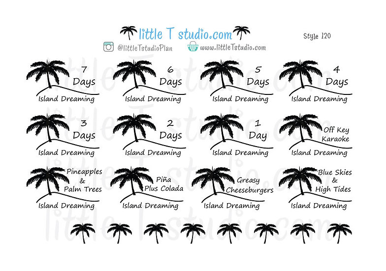 Vacation Countdown Stickers Island Dreaming! - Style 120