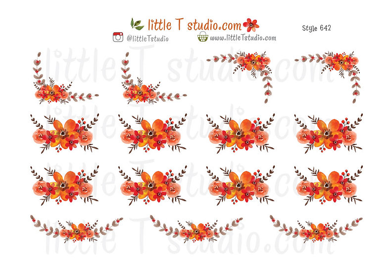 Fall Floral Decorative and Border Stickers - Style 642