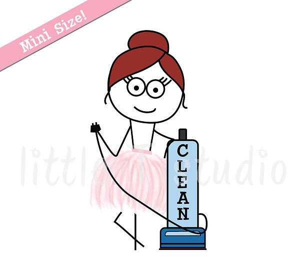 Busy Ballerina Mini Size - Cleaning Vacuum Stickers - Style 217M