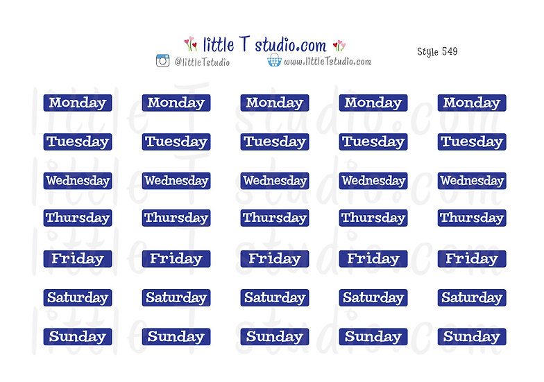 Days of the Week Stickers - Style 549