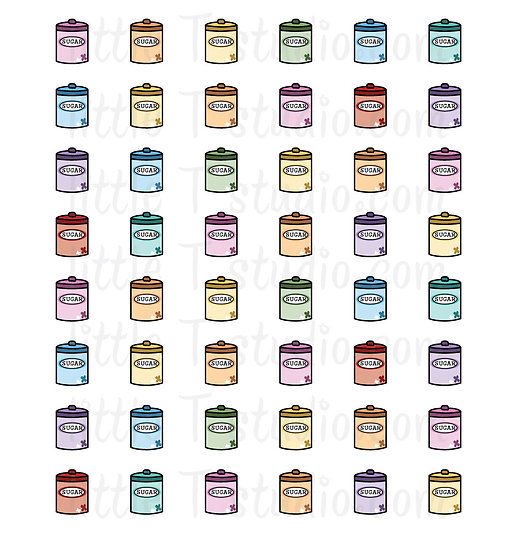 Sugar Canister Baking Mini Size Icon Stickers - Style 140M