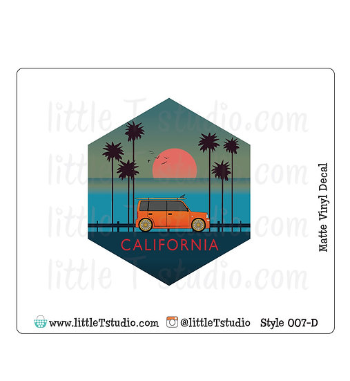 California Sunset - Vinyl Decal Matte Finish - Style 007-D