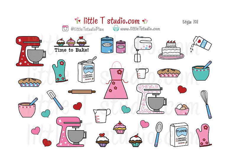 Baking Variety Sticker Pack! Pink and Red - Style 101